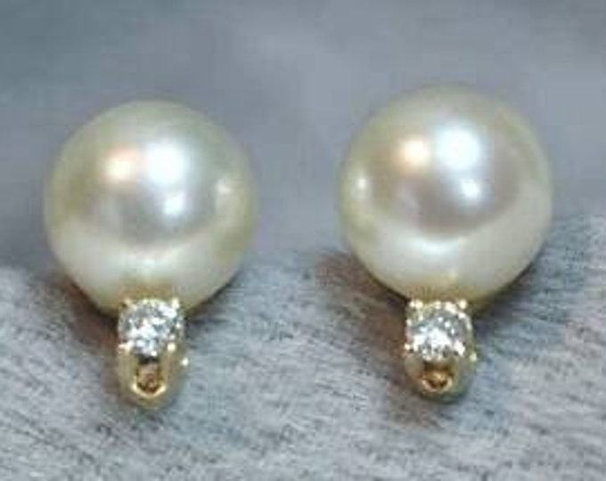 Pair of 14K Yellow Gold Saltwater Cultured Pearl and Diamond Earrings. Pendant Sold Separately.