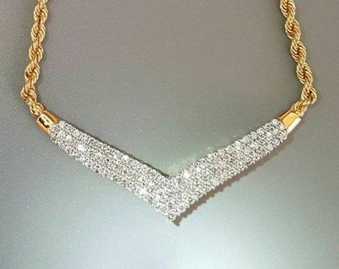 14K Yellow Gold V Shaped Diamond Necklace. Elegant Diamond Necklace. Includes Matching Chain Extensions.