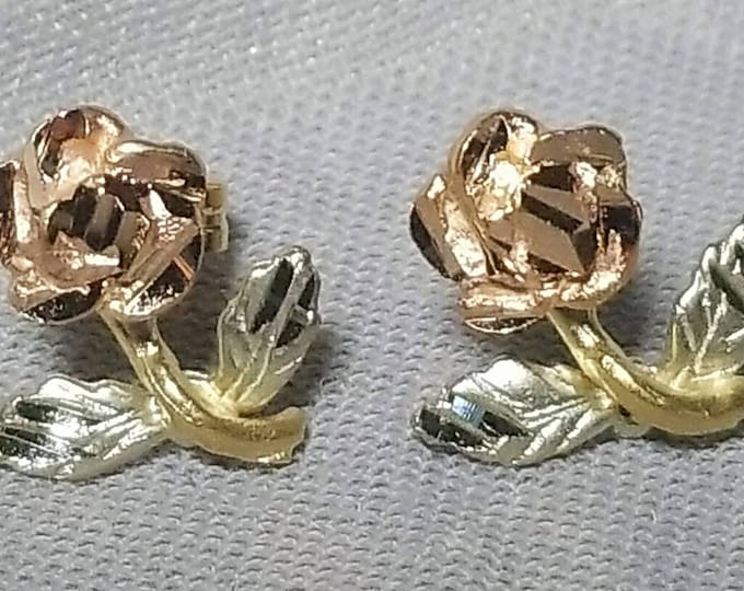 Pair of 14K Rose, Yellow and White Gold Rose, Stem and Leaf Design Pierced Earrings with 14K Yellow Gold Push on Earring Backs