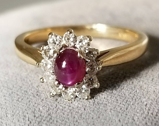 Beautiful 14K Yellow Gold Genuine Ruby Star and Diamond Ring. Very sparkly, Deep Red Center Gem with Bright Diamonds. Halo Ring, Cute Ring