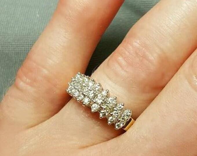 14 Karat Yellow Gold Diamond Ring. Anniversary ring, Wedding Ring, Fashion Ring