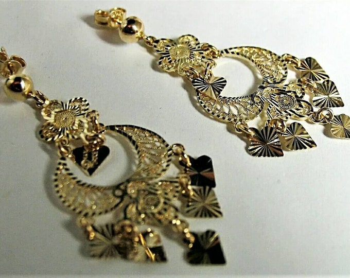 Pair of Stunning Hallmarked 14K Yellow Gold Chandelier Style Earring with Lots of Sparkle. Classy, Many Occasions, Dress