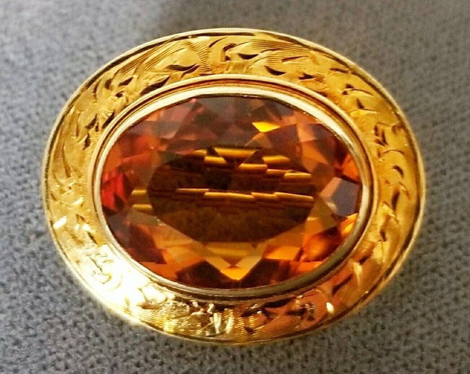 Gorgeous Hallmarked 14K Yellow Gold Genuine Beautiful Citrine Pendant Brooch. Vivid, Deep Golden Orange Color Fine Citrine. Well Made