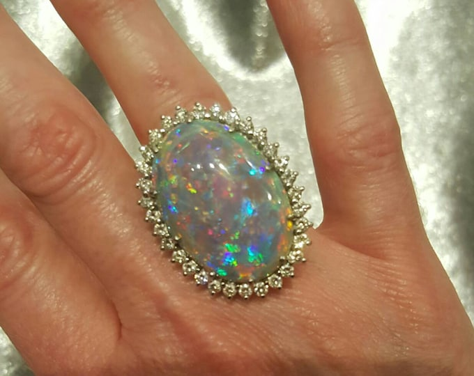 Stunning! Platinum Queensland Boulder Opal and Diamond Ring