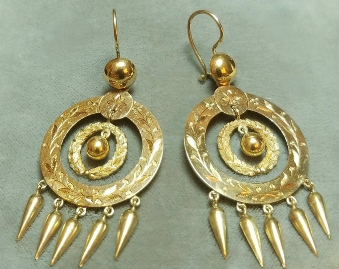 Gorgeous 14K Yellow Gold Antique Chandelier Style Pierced Earrings. Rare Find with all Original parts