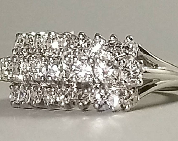 Hallmarked 14K White Gold Diamond Ring in a Three Row Princess style Wedding Ring, Anniversary Ring, Engagement and Diamond Wedding Ring.