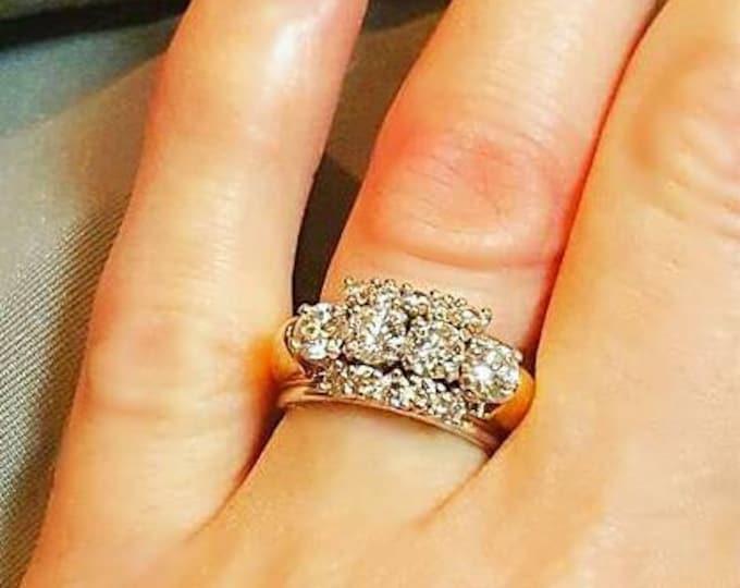 18 Karat Yellow Gold and Platinum Diamond Ring. Diamond Bracelet Sold Separately.