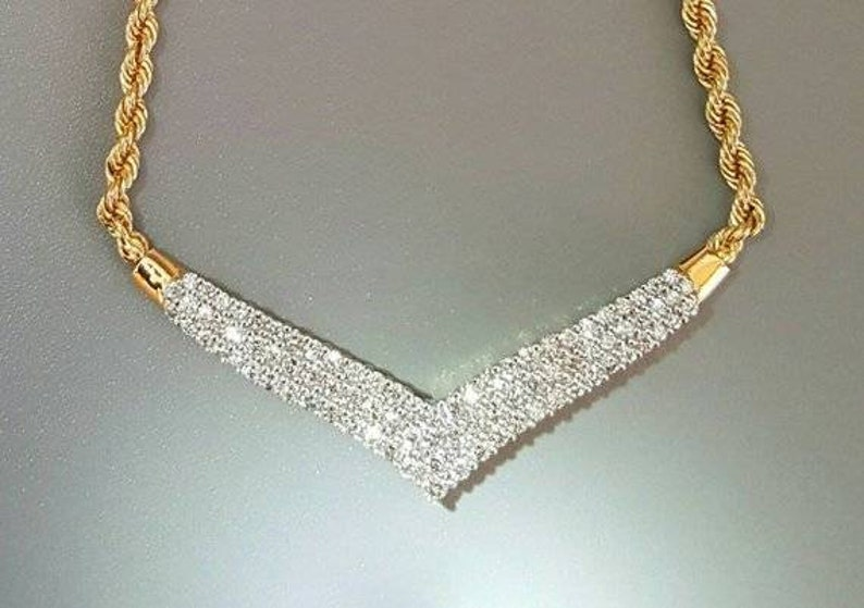 34686f30748e2 14K Yellow Gold V Shaped Diamond Necklace. Elegant Diamond Necklace.  Includes Matching Chain Extensions.
