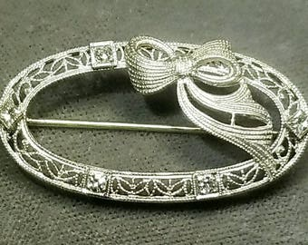 14K White Gold Diamond Brooch. Free U.S. Shipping. International Charges May Vary.
