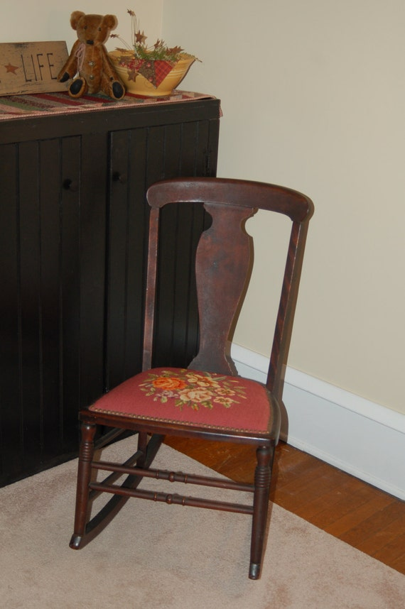 image 0 - Antique Rocking Chair With Needlepoint Seat Shabby Chic Etsy