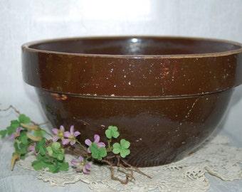 Primitive Bowl - Antique Brown Farmhouse Bowl Mixing Bowl Serving Bowl
