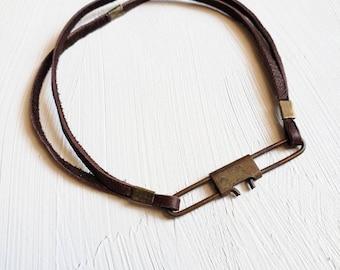 Leather bracelet w/ vintage fishing