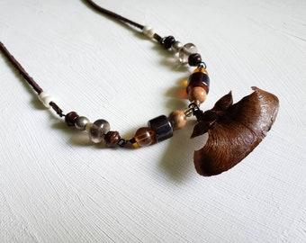 Beaded Pinecone Blade Necklace 2 (HHH)