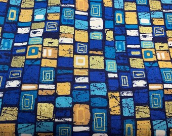 Fabric package Makower with plaids - blue / colorful