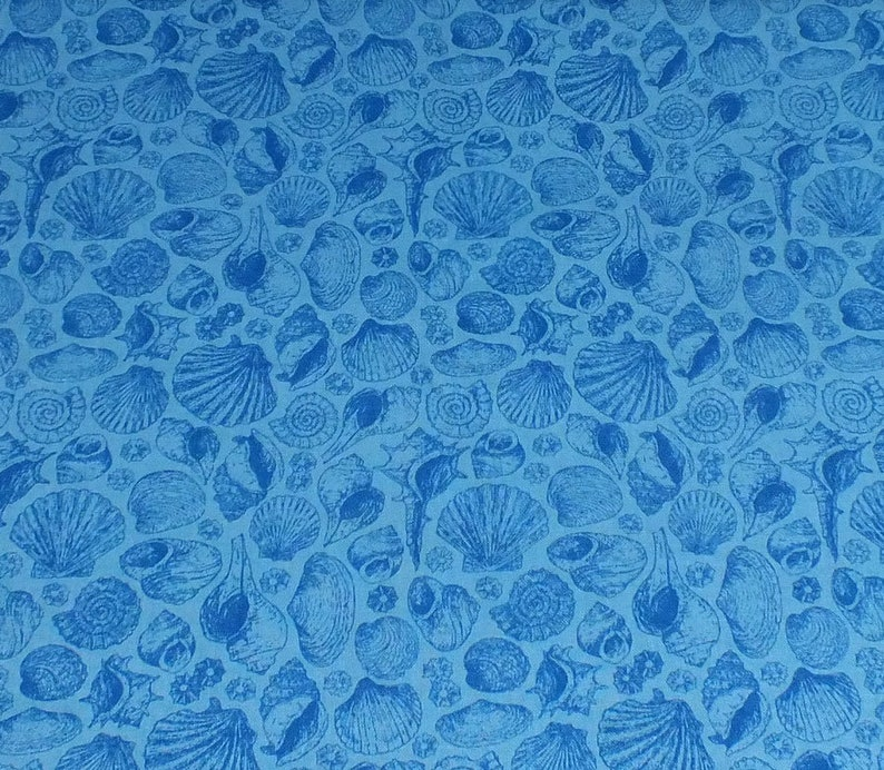 Fabric package Makower-cotton blue with mussels image 0