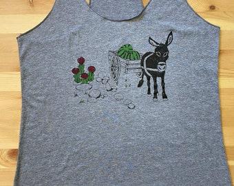 Donkey • Women's Tri-blend Racerback Tank Top • Moon Cactus • Cactus Design • Mule • Hiking Tank • Workout Tank