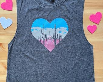 Sunset • Women's Triblend Muscle Tank  • Arizona Sunset Design • Saguaro Shirt • Cactus Design • Saguaro Print