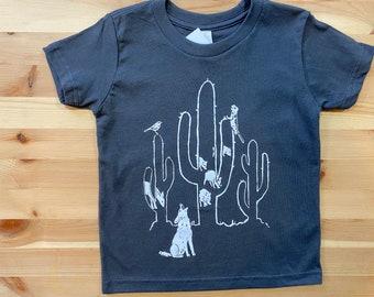 Desert Dwellers • Unisex Toddler T Shirt • Saguaro Print • Cactus Design • Coyote •Kids Coyote Shirt • Javalina T Shirt