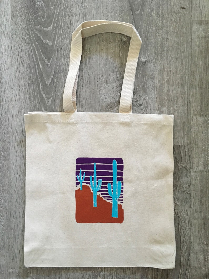Screen printed THREE Saguaros canvas shopper TOTE image 0
