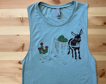 Donkey • Women's Triblend Muscle Tank • Mule • Hiking Shirt • Cactus Design • Moon Cactus •Festival Tank •Workout Tank