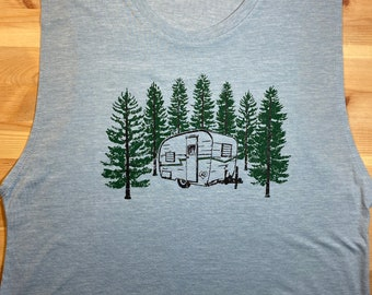 Vintage Camper • Women's Triblend Muscle Tank • Tiny Home • Cabin in the Woods • Pine Trees • Forest • Workout Tank