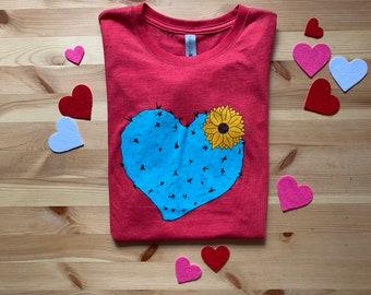 Women's Cactus Heart Tri-blend t-shirt, Size S-XXL