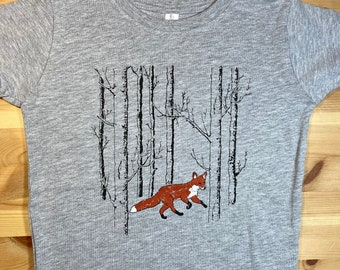 Fox • Unisex Toddler T Shirt • Fox Design • Fox in the Woods • Forest • Toddler Coyote Shirt • Red Fox