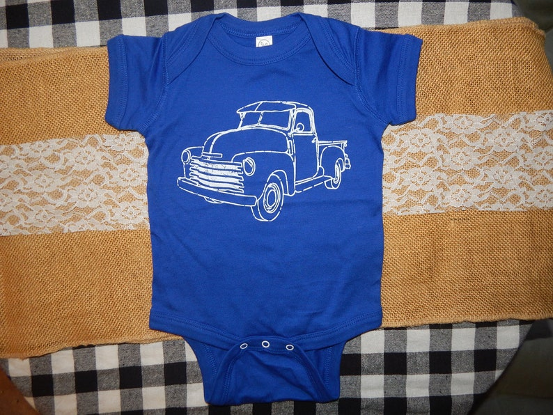 READY to ship Baby one-piece FARM TRUCK Newborn 6mos 12 image 0