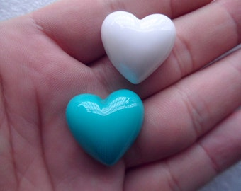 10 pcs resin heart white turquoise Cabochons