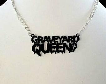 GRAVEYARD QUEEN Laser Cut Pendant Necklace