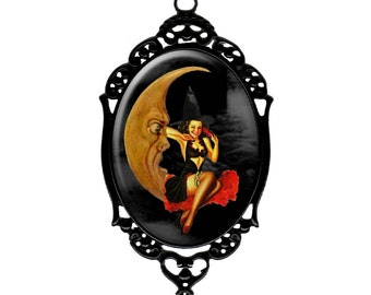 Vintage 1940s Halloween Pin-Up Witch & Moon Pendant Necklace