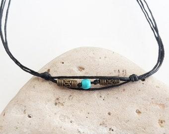 Men's turquoise bracelet - Tube bracelet Bracelet for men Men's jewelry Christmas gift for men Adjustable bracelet Wax cord bracelet