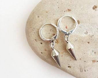 Men's spike earrings - Men's silver earrings Men's hoop earrings Spike earrings Gift for men Men earrings hoops Men's hoop dangle earrings