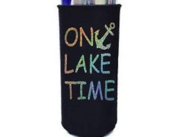 Custom Glitter ON LAKE TIME Slim Can Cooler