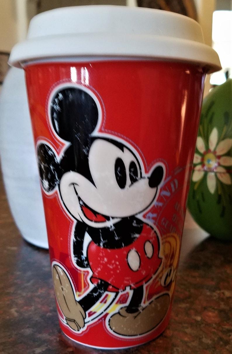 Lid Mickey Dishwasher Authentic Mouse Vintage Ceramic Tumbler With Coffee Disney 1928 Original Safe Travel v0wm8yNnO