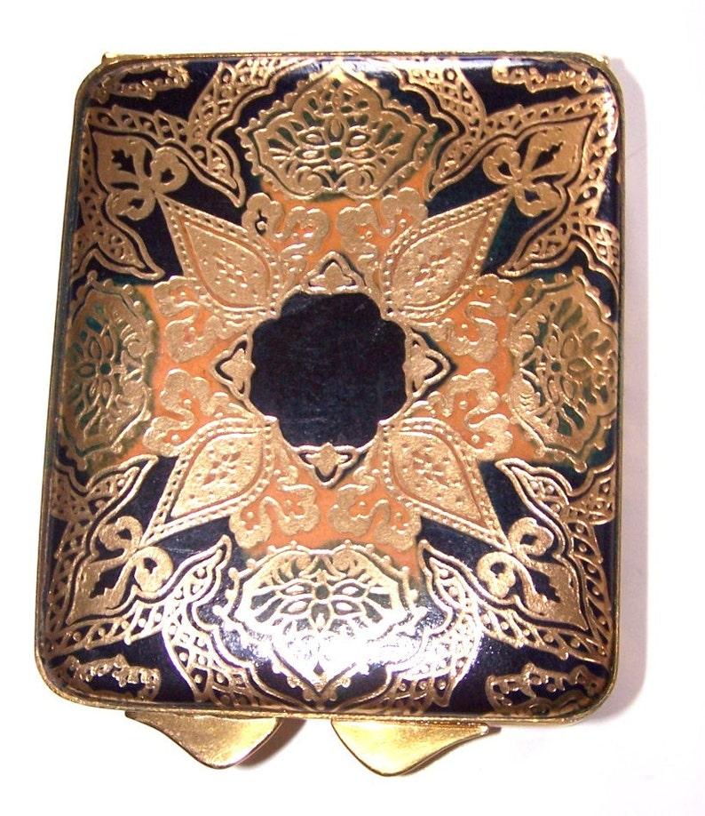 Vintage Compact With Mirror Black Enamel Floral Pattern