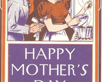 Vintage Busy Homemaker Mother's Day Greeting Card
