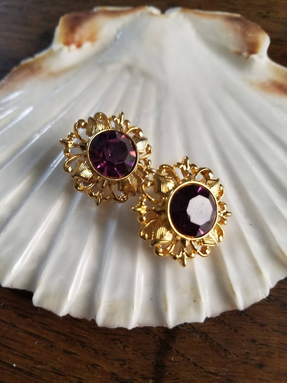 Gorgeous Gold Filagree Purple Crystal Clip On Earr