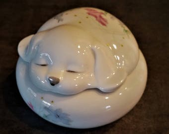 Vintage TAKAHASHI San Francisco Handpainted Porcelain Napping Sleeping Puppy Trinket Box