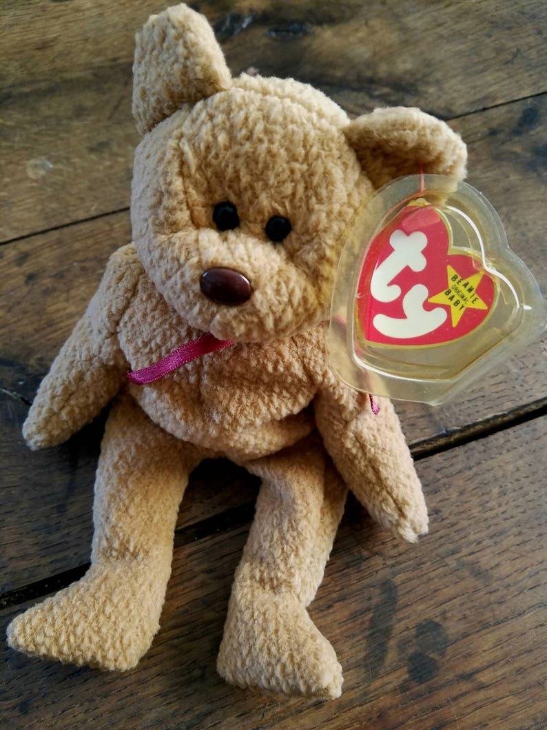 Rare - 1993 Curly the Bear TY Beanie Baby - Black Eyes, Brown Nose - With  Swing Tag - Exceptionally Adorable