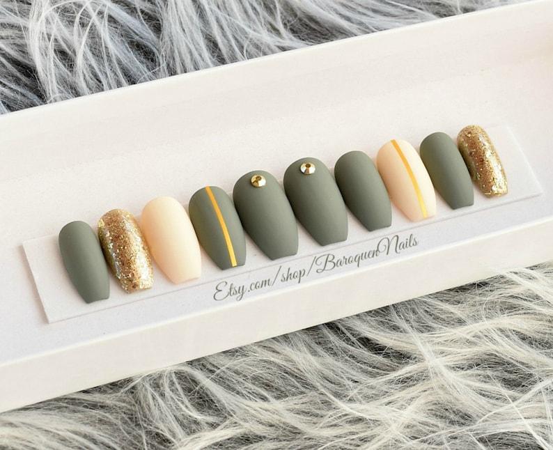 Olive Green Press On Nails Military Green Nails Set Khaki Green False Nails Ivory Fake Nails Glue On Nails Stiletto Nails Gel