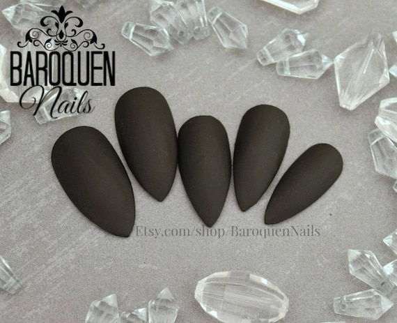 Morticia Classic Matte Black Press On Nails Stiletto Nails Etsy