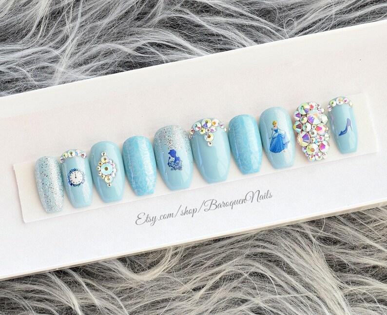 Cinderella Sparkle Nails | Silver Tiara & Glass Slipper | Disney Princess  Nail Art | Gel Press On Nails False Nails Glue On Fake Nails Blue