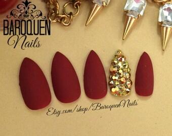 Velvet • Matte Burgundy Red Press On Nails Maroon Nail Set Gold Crystal Bling Fake Nails | Stick On Nails Glue On Nails | GEL Nail Tips hot