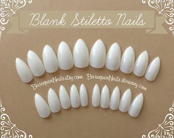 Full Set of Blank Stiletto Nails Full Cover Press On Nails Claw DIY Nail Art (Clear/Natural) Salon Quality Acrylic Fake Nails False Nails