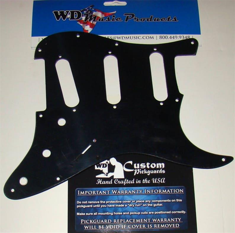 SSS Pickguard For Strat®, Hendrix Voodoo Reverse Bridge Pickup, Solid Black  or White