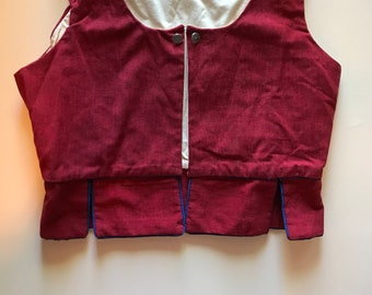 German Austria Vest - Lovely -Folk Costume in Dusty Deep Red with Ryal Blue Piping.  Charm!  Wonderful Holiday Vest - M / L