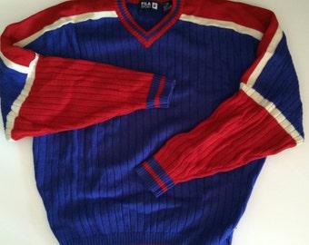 7f57ddaf85e9 Fila Ski Sweater   Fila Sport Wool Sweater in Vivid Royal Blue w Bright  Cherry Red   White Sleeve   Downhill Skiing   Camping   L XL