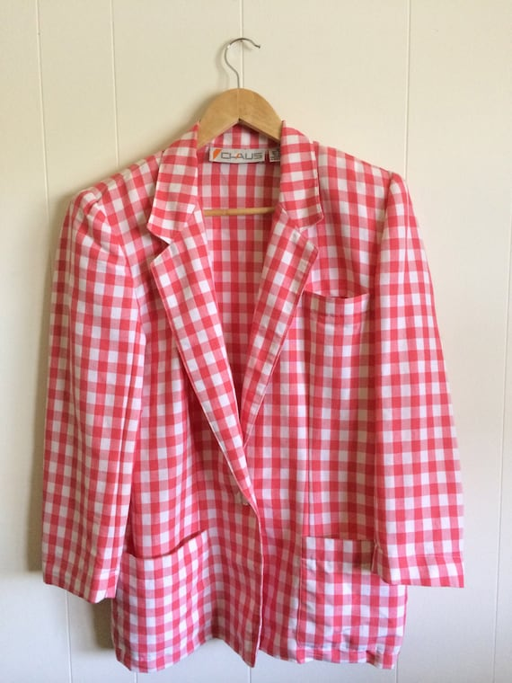 Pink Gingham Jacket - Darling!- in Coral Pink and… - image 3