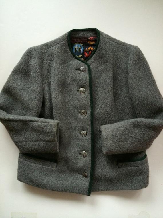 rivenditore online c13ba 84efb Lana cotta giacca - Austria - incantevole! -Foresta Himalaya Loden Heather  Gray w accenti verdi - giacca da montagna austriaca - donna